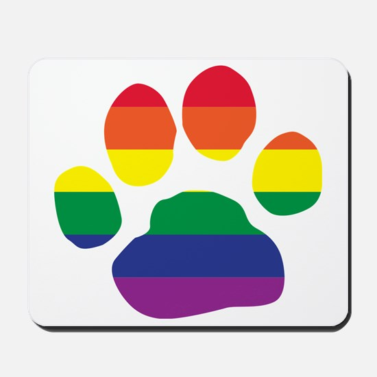 Gay Pride Paw Print Mousepad