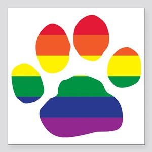 "Gay Pride Paw Print Square Car Magnet 3"" x 3"""