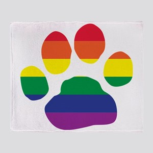Gay Pride Paw Print Throw Blanket