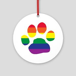Gay Pride Paw Print Round Ornament