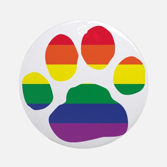 Gay Pride Paw Print Round Ornament