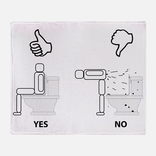 Proper Toilet Usage Throw Blanket