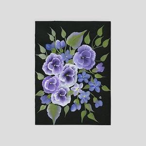 Flowers Purple 5'x7'Area Rug