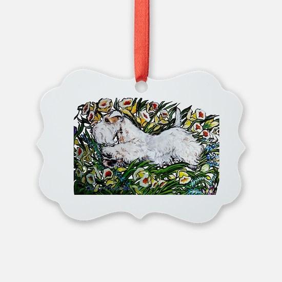 Sealyham in Daffodils Ornament