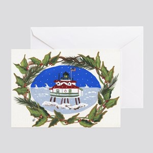 Thomas Point Lighthouse at Christmas Greeting Card