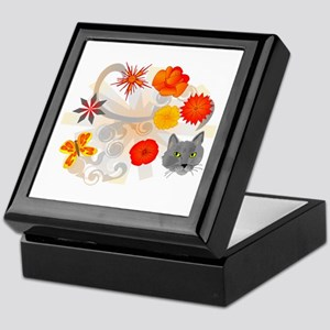Abstract Floral & Cat Keepsake Box