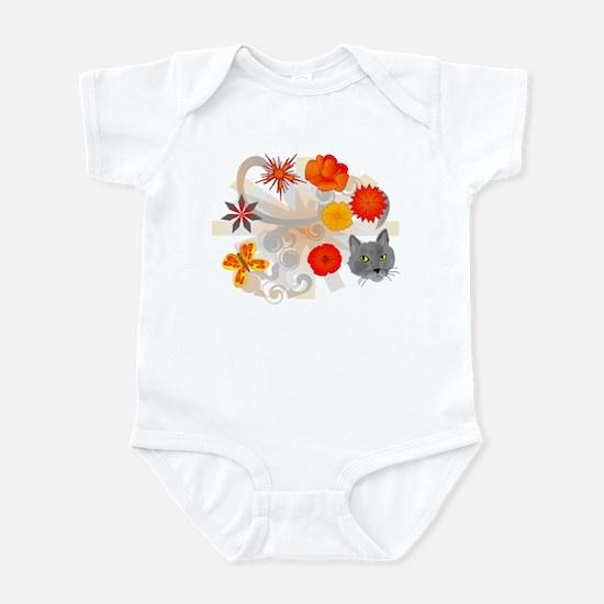 Abstract Floral & Cat Infant Bodysuit