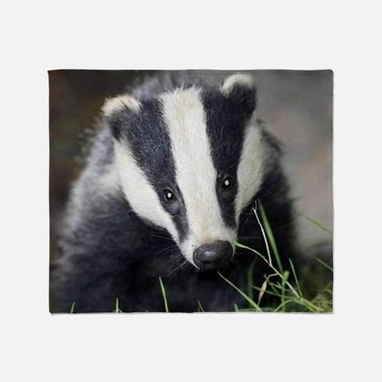 Cute Badger Throw Blanket