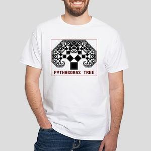 Pythagoras Tree White T-Shirt