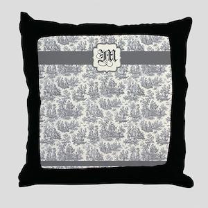 Gray Toile Monogram Throw Pillow