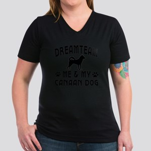 Canaan Dog Designs Women's V-Neck Dark T-Shirt