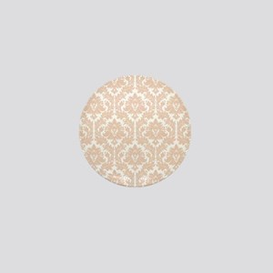 Linen Beige Damask Mini Button