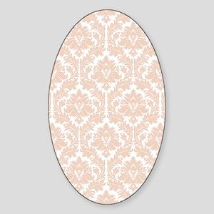 Linen Beige Damask Sticker (Oval)