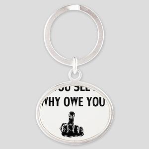 F U Oval Keychain