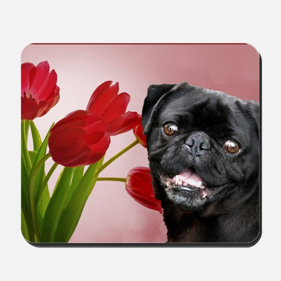 Black pug and tulips Mousepad