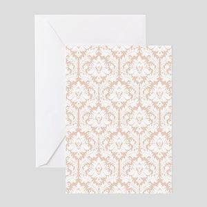 Linen Beige Damask Greeting Card