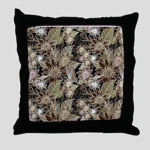 Flowers, Ferns and Butterflies Throw Pillow