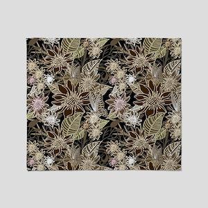 Flowers, Ferns and Butterflies Throw Blanket