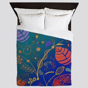 Bright Colored Tropical Plant Pattern  Queen Duvet