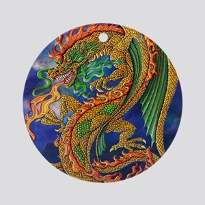 Golden Dragon 16x20 Round Ornament