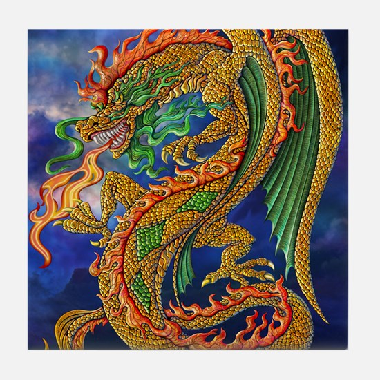 Golden Dragon 16x20 Tile Coaster