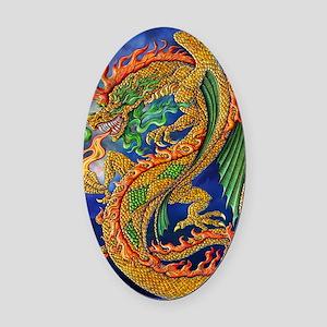 Golden Dragon 16x20 Oval Car Magnet