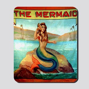 Vintage Mermaid Carnival Poster Shower C Mousepad