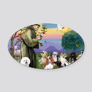 Saint Francis  10 dogs Oval Car Magnet