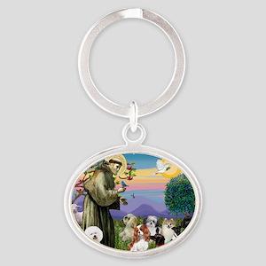 Saint Francis  10 dogs Oval Keychain