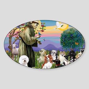 Saint Francis  10 dogs Sticker (Oval)