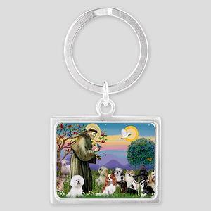 Saint Francis  10 dogs Landscape Keychain
