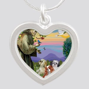 Saint Francis  10 dogs Silver Heart Necklace