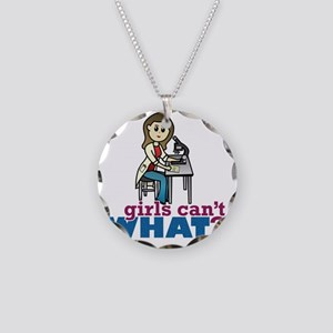 Girl Scientist Necklace Circle Charm