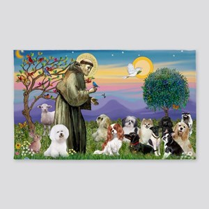 1-StFracnis-10 dogs-MINI POSTER 3'x5' Area Rug