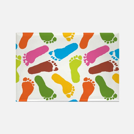 Colorful Footprints on White Back Rectangle Magnet