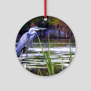 Blue Heron Sketch Round Ornament