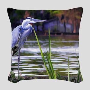 Blue Heron Sketch Woven Throw Pillow