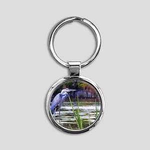 Blue Heron Sketch Round Keychain