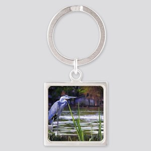 Blue Heron Sketch Square Keychain