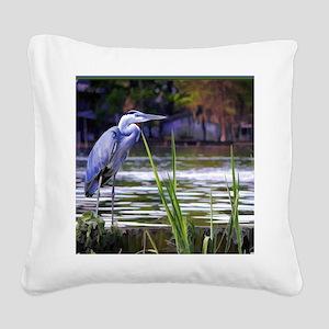 Blue Heron Sketch Square Canvas Pillow