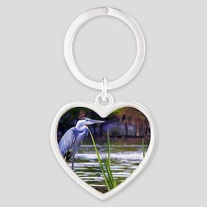 Blue Heron Sketch Heart Keychain
