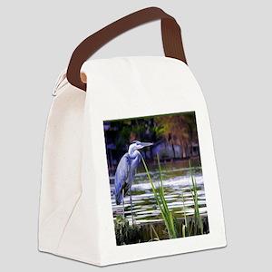 Blue Heron Sketch Canvas Lunch Bag