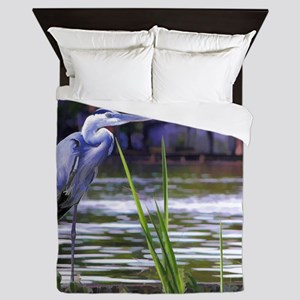 Blue Heron Sketch Queen Duvet