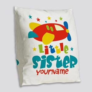 Little Sister Plane - Personalized Burlap Throw Pi