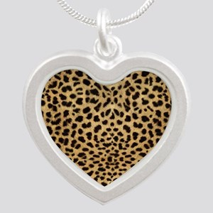Cheetah Animal Print copy Silver Heart Necklace