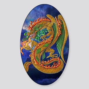 Golden Dragon 11x17 Sticker (Oval)