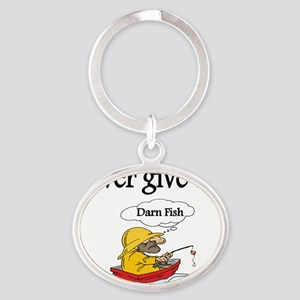 Never give up Oval Keychain
