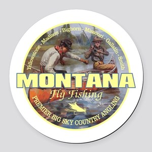 Montana Fly Fishing Round Car Magnet