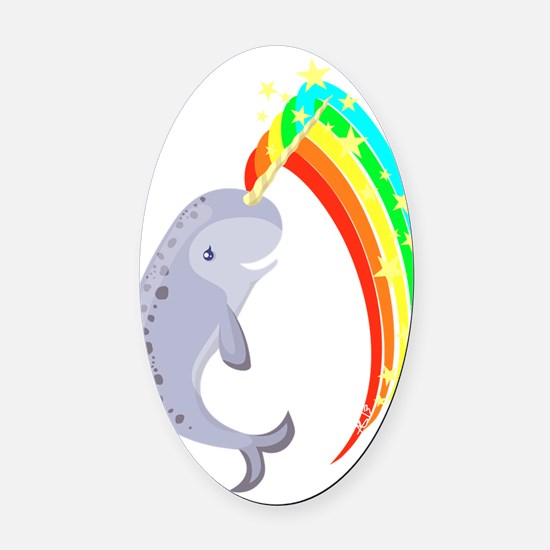 Magical Narwhal Oval Car Magnet