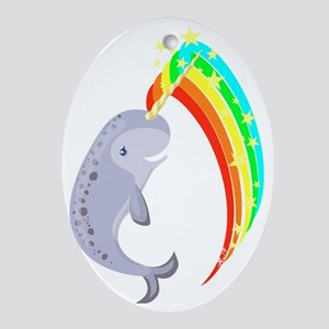 Magical Narwhal Oval Ornament